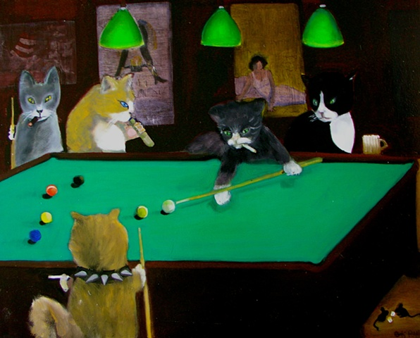 Cats in a bar playing pool drinking beer and smoking cigars and cigarettes