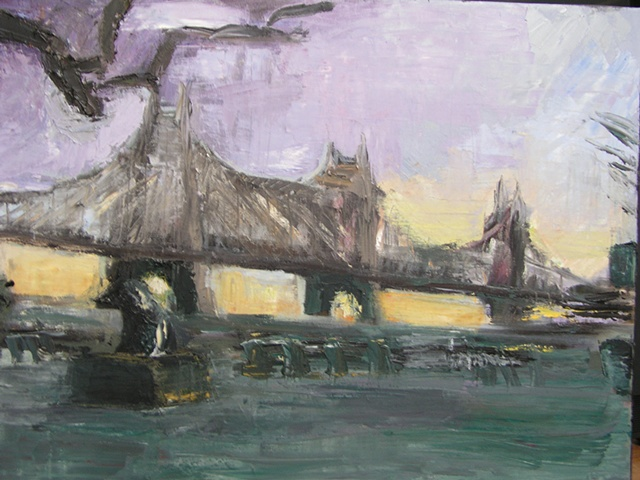 Painting of  59th Street Street, Queensboro Bridge from Sutton Place Park over the East River in New York City, Manhattan at sunrise