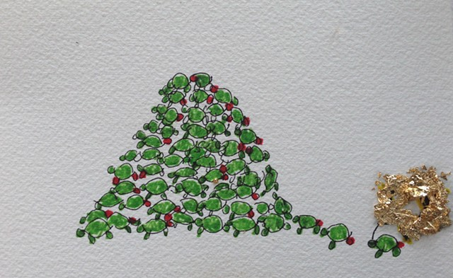 Green turtles create a christmas tree