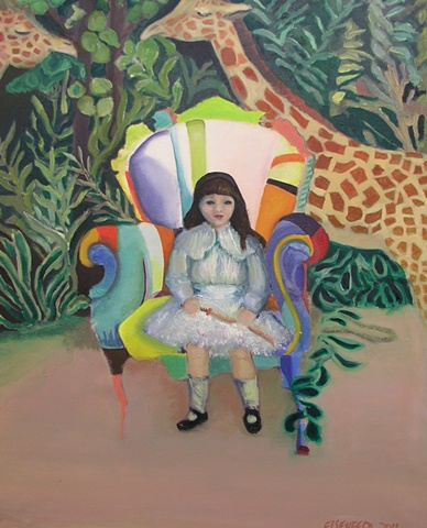 On the wild side as the jungle grows and the giraffes munch the foliage, a little girl waits patiently with a sword
