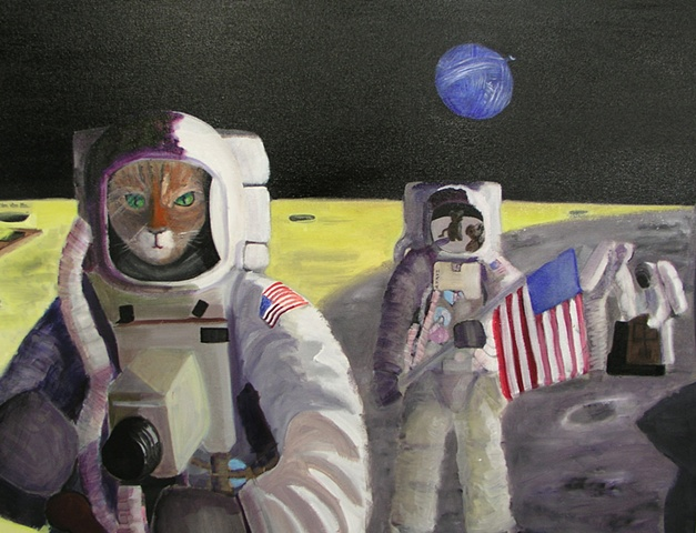 Surrealistic version of astronauts on the moon who are cats searching for mice