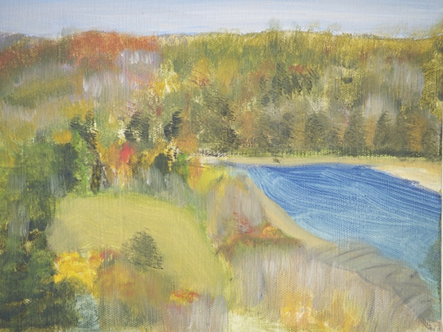 impressionistic style of delaware river in summer
