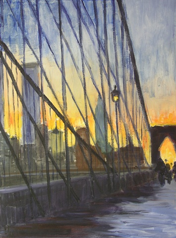 Cityscape of Brooklyn Bridge at sunset in winter with Manhattan Skyline
