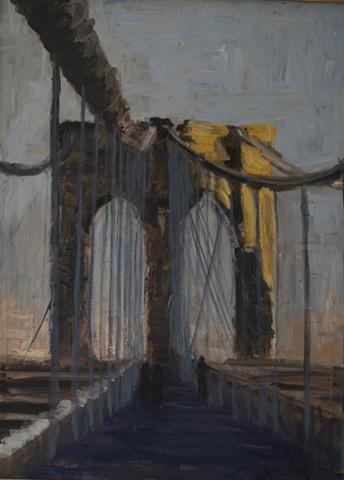 Cityscape painting of Brooklyn Bridge from walkway