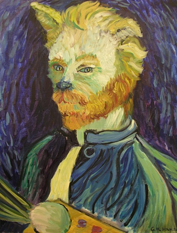 Surrealistic version of  Vincent Van Gogh self portrait as a cat