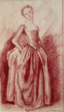 drawing of young woman standing