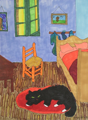 Van Gogh's cat waiting for him to return home