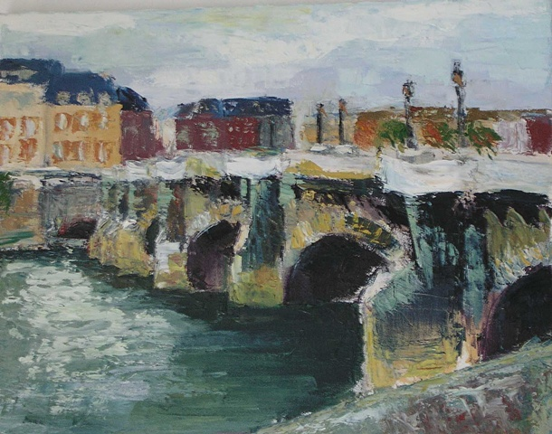 Cityscape painting of the Pont Neuf Bridge over the Seine Paris France