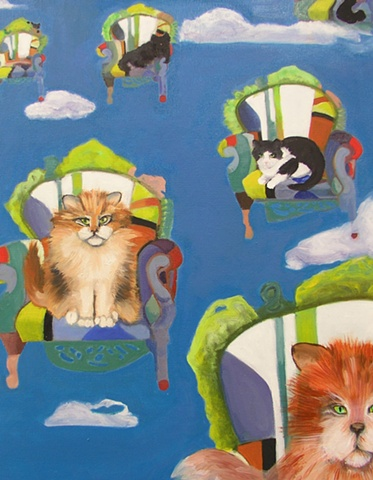 Cats dream of flying in blue skies with clouds, a catnip dream