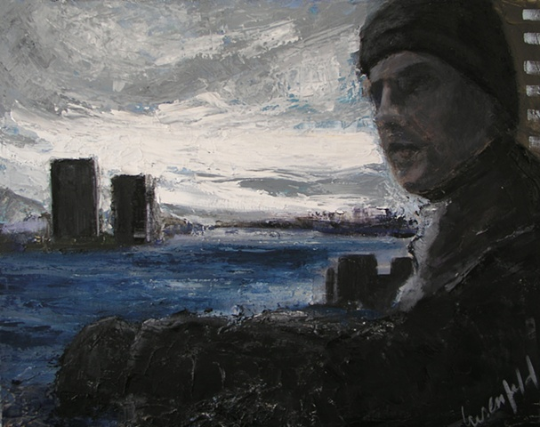 Painting of cityscape with man overlooking east river in Manhattan on overcast day