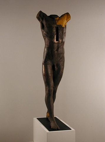 Walking Man Ht. 58 inches, bauxite, oxideds