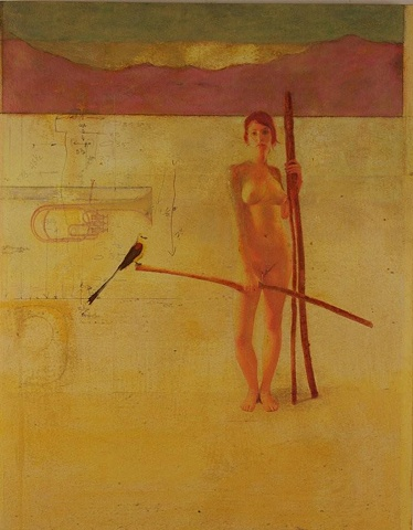 "The Last Mojave Trumpet Bird, 24 x 30 "" Encaustic, Oils"