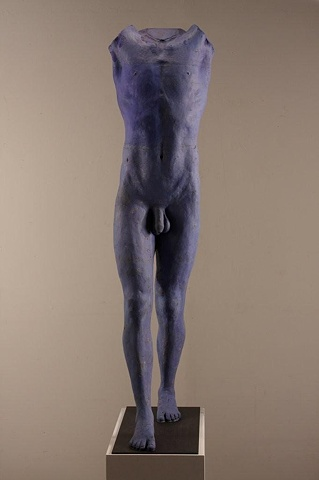 New male piece by sculptor Dan Corbin made of bauxite, oxides and paints ,