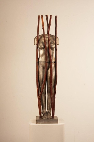 Stainless steel figurative sculpture by Dan Corbin representing the female form