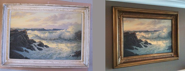 custom made in Maine picture frame for a seascape ornate