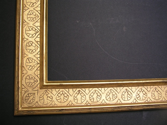 incised gesso gilt frame in burnished gold leaf on black bole made in Maine hand made