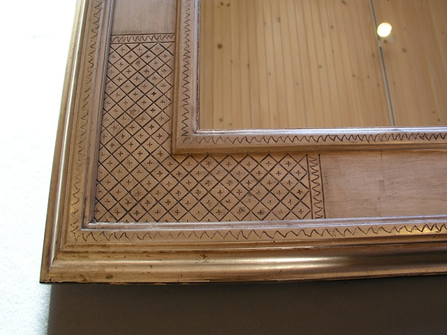 incised gesso gilt frame in burnished white gold leaf Frederick Harer design