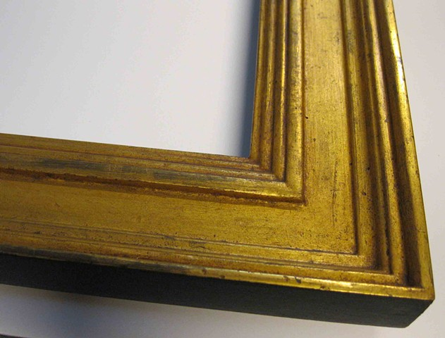 hand made in Maine burnished gold leaf custom made picture frame cassetta