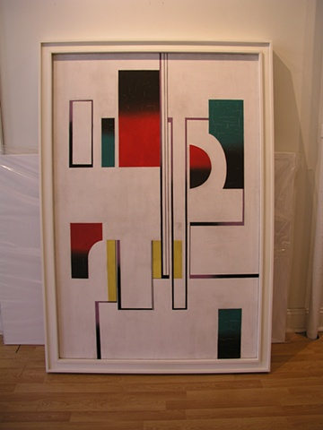 mondrian style frame for painting by Jean (Yiannis Xirocostas) Xceron  (1890 - 1967)