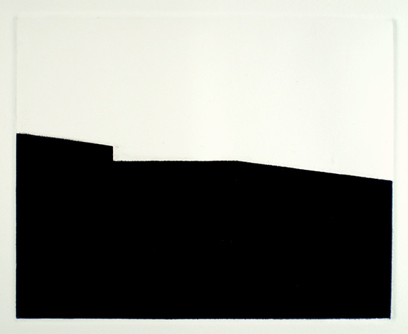 black and white minimal architectural monotype by Robin Sherin