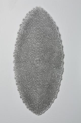 "Granny's Bobbin Lace, #6, 2011 graphite, water lift-off on mylar 13 x 28"""