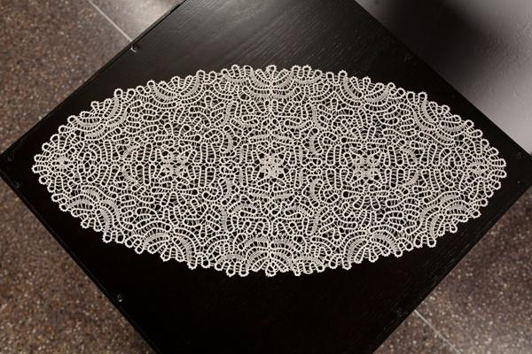 "Bobbin Lace  cotton thread, 13 x 28"" Annie Lee Dawson Gerecke - 1890-1981"