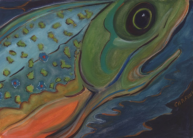 Abstract painting of a Rainbow Trout.