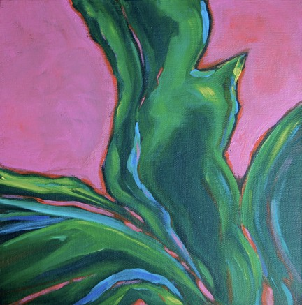 Hot Pink and Tropical Greens in Abstract depiction of Agave, Texas Botanicals in the Southwest