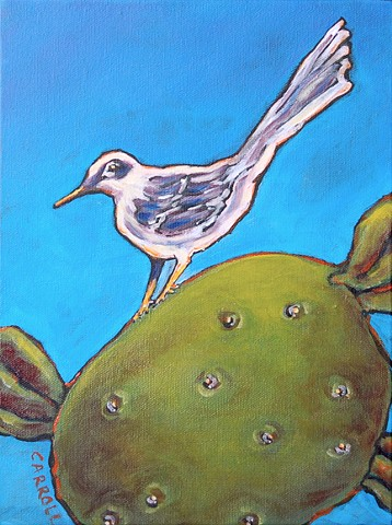 One of my Mockingbird series with Mockingbirds perched on cacti - Texas Botanicals.