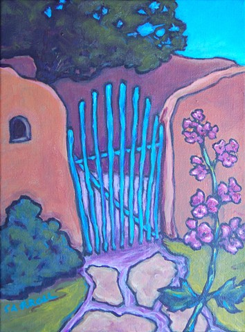 Charming gate to an adobe courtyard, at the Couse House in Taos, New Mexico
