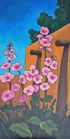 Hollyhocks set against an adobe wall, Taos New Mexico