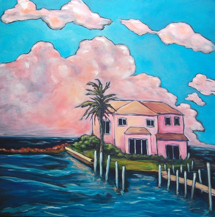 beautiful sunset on clouds and shell pink house at the end of the pier, Port Aransas, Texas