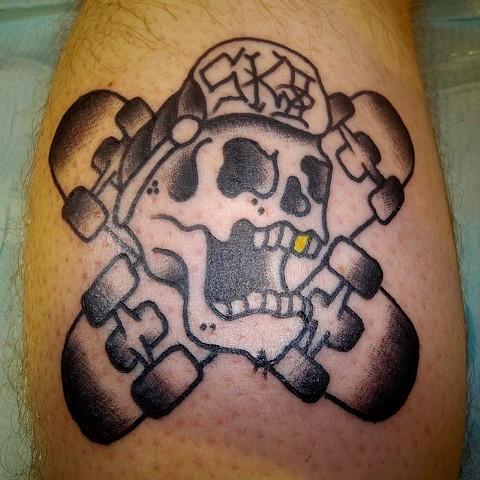 skateboard Tattoo by Jay Carter, 8th Day Tattoo, Jacksonville, Florida USA