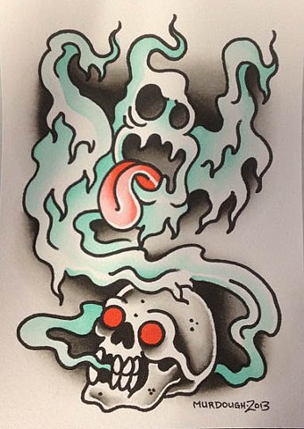 ghost and skull