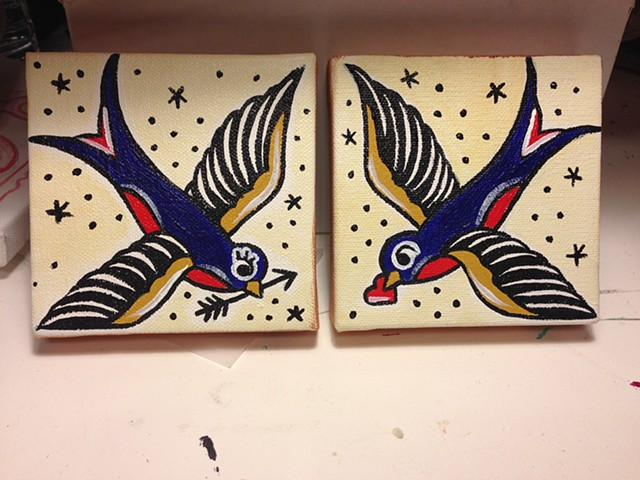 Traditional Sparrows - Acrylic