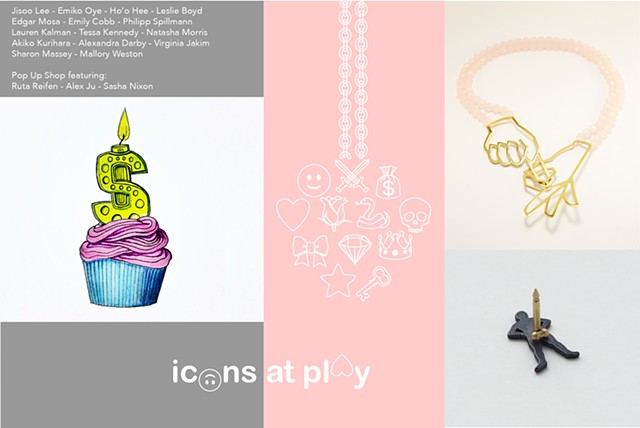 Postcard for Icons at Play Exhibition Curated by Manuela Jimenez + Kendra Pariseault