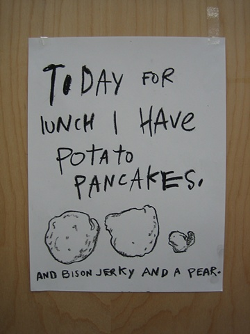 Today for lunch I have potato pancakes. And bison jerky and a pear.