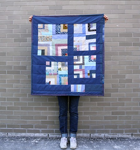 "Recycled Patchwork Quilt, 36"" x 40"""