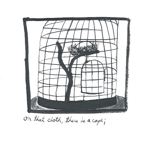 on that cloth, there is a cage
