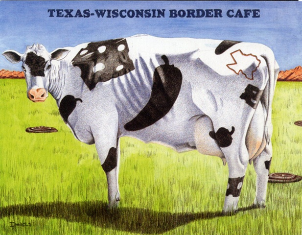 Watercolor of cow, cow art, kitchen art