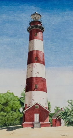 Watercolor of Assateague lighthouse, Assateague Island, lighthouse home decor, lighthouse watercolor