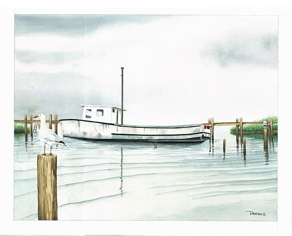 Watercolor of boat at Chincoteague, Virginia, serene watercolor of boat on water