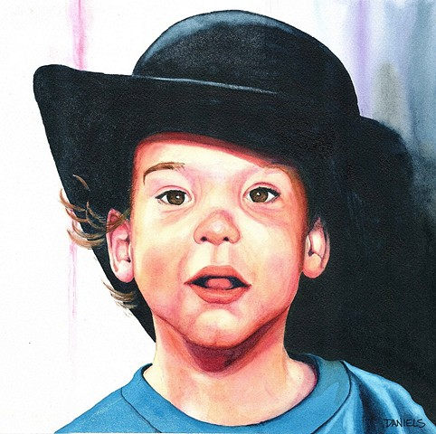 Watercolor of child wearing a black hat