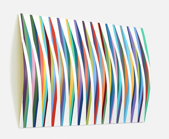 Abstract wall sculpture painted in stripe patterns