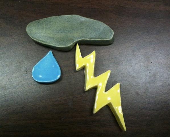 Set of 3: Thunder, Lightning, and Rain