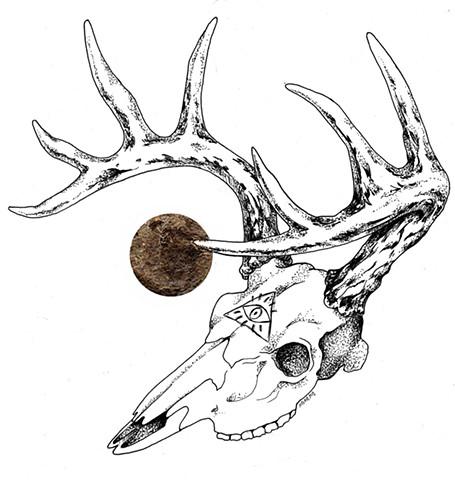deer skull with gold leaf