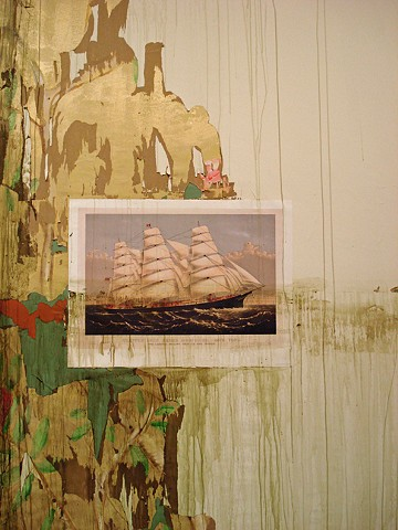Ship, Wallpaper, and Floorboards with Flood Damage