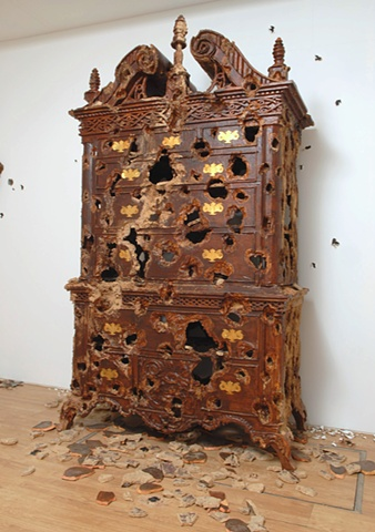 Chest of Drawers (Early American) with Woodpecker