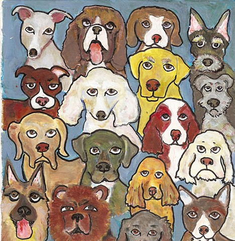 Going to Dogs, a cartoonish painting in acrylics of different dog breeds
