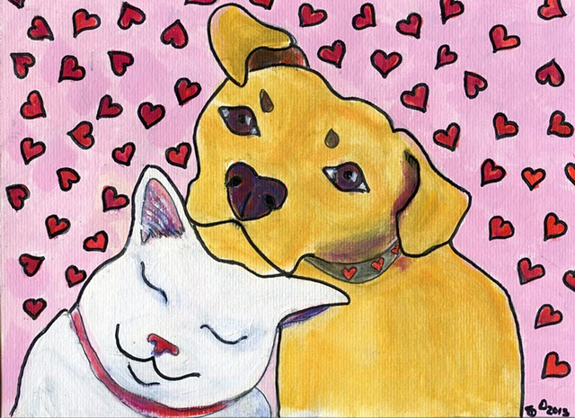 Painting of a white cat snuggling with a dog for sale
